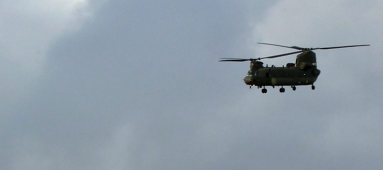 Military helicopter flying into the QE Hospital in Birmingham