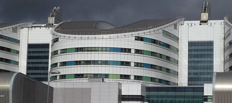 """The recently opened Queen Elizabeth hospital was as slick and clean as an airport, with easily as much foot traffic."""